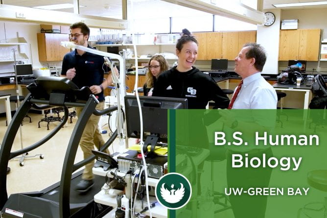 Photos of a student exercising on a treadmill and hooked up to a breathing mask, while two students monitor the male runner and a professor looks on during the UW-Green Bay's Exercise Physiology lab.