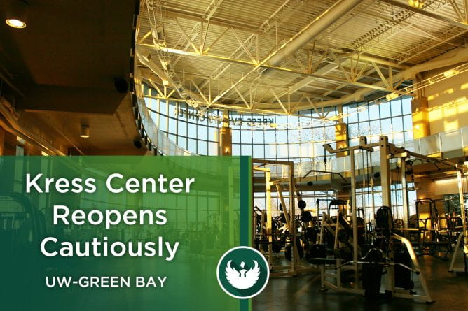 Photo of the fitness center with workout equipment at the Kress Center at UW-Green Bay.