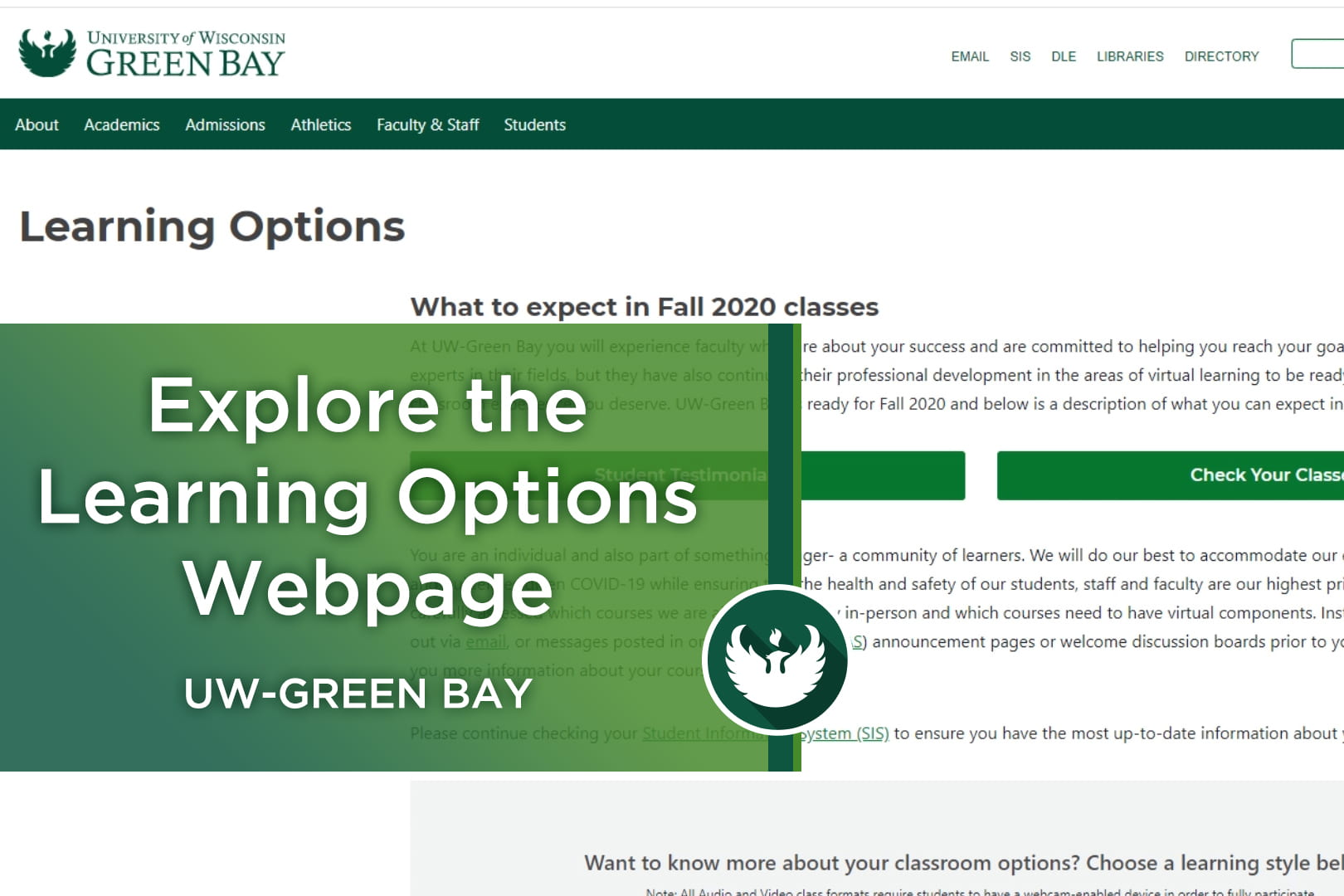 Photo of the UW-Green Bay Learning Options webpage.