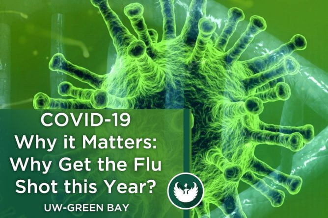 "Photo of the covid-19 virus under a microscope with the words, ""COVID-19 Why it Matters, Part 8: Why does everyone need a flu shot this year?"""
