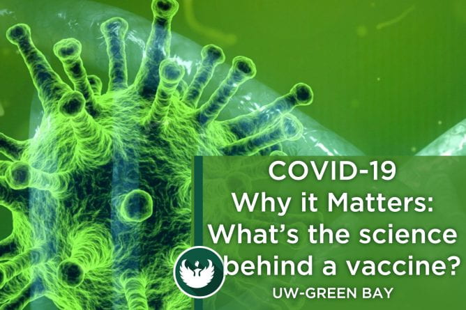 "Photo of the covid-19 virus under a microscope with title text, ""Part 9 Brian Merkel What's the science behind a vaccine?""."