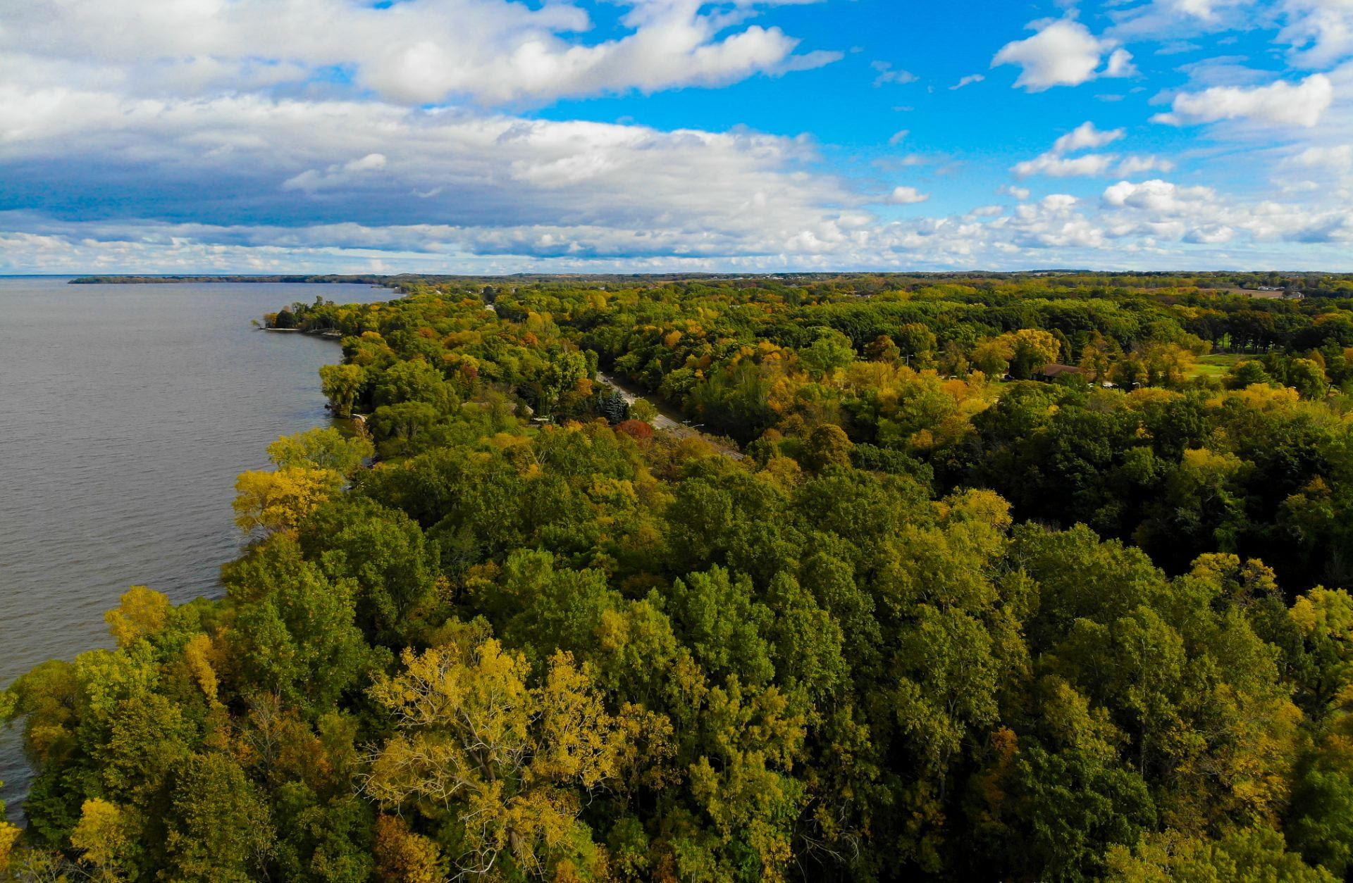 Photo of Fall colors just starting to turn in the Cofrin Memorial Arboretum along the bay of Green Bay on Friday, Oct. 2, 2020.