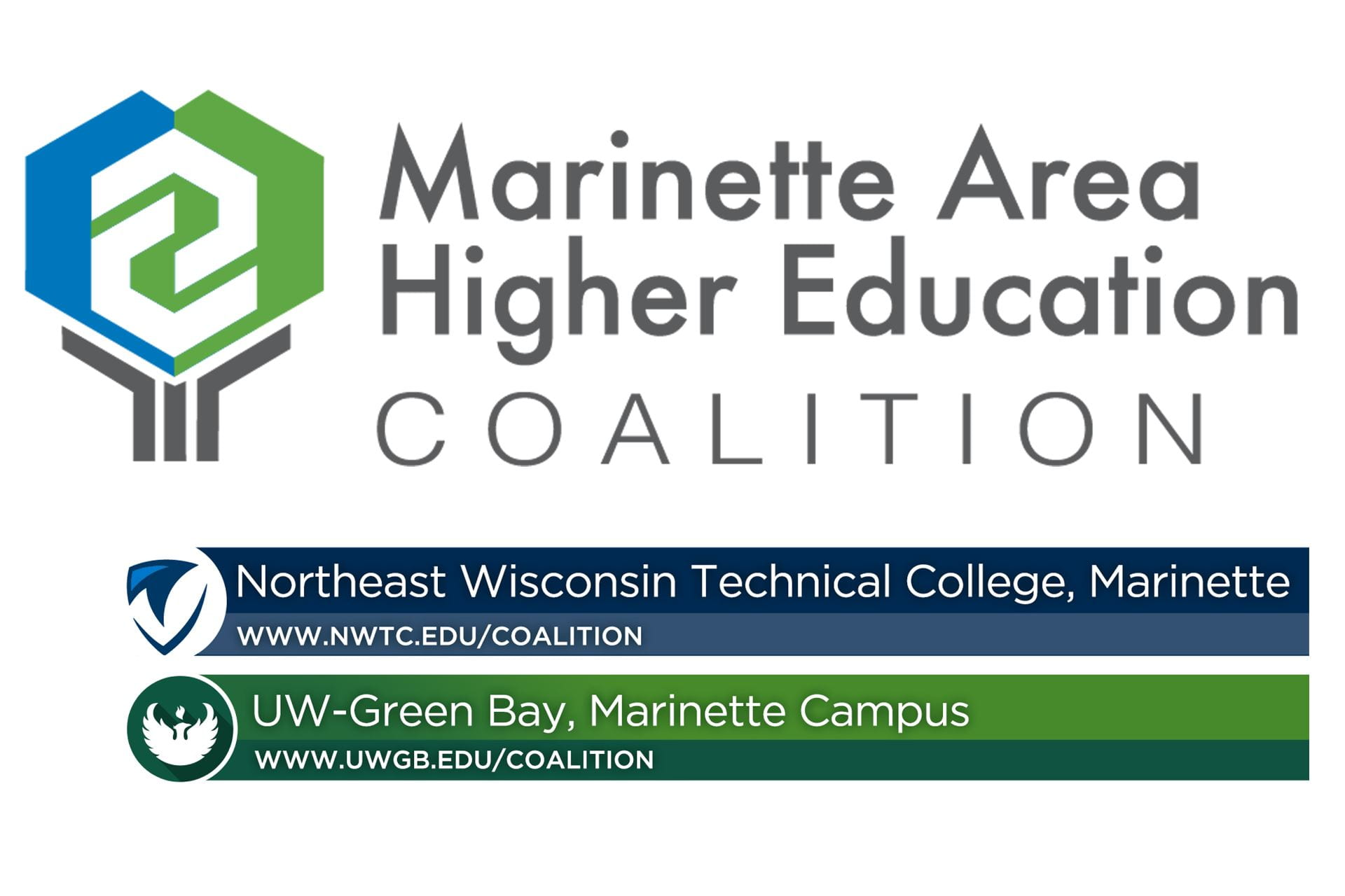 """Graphic with the text, """"Marinette Area Higher Education Coalitiion."""""""