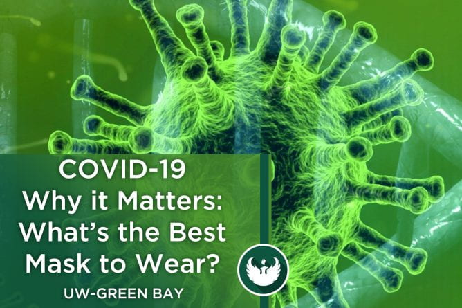 "Photo of the Covid-19 virus under a microscope with the text, ""Covid-19 Why it Matters, What's the Best Mask to Wear?"""