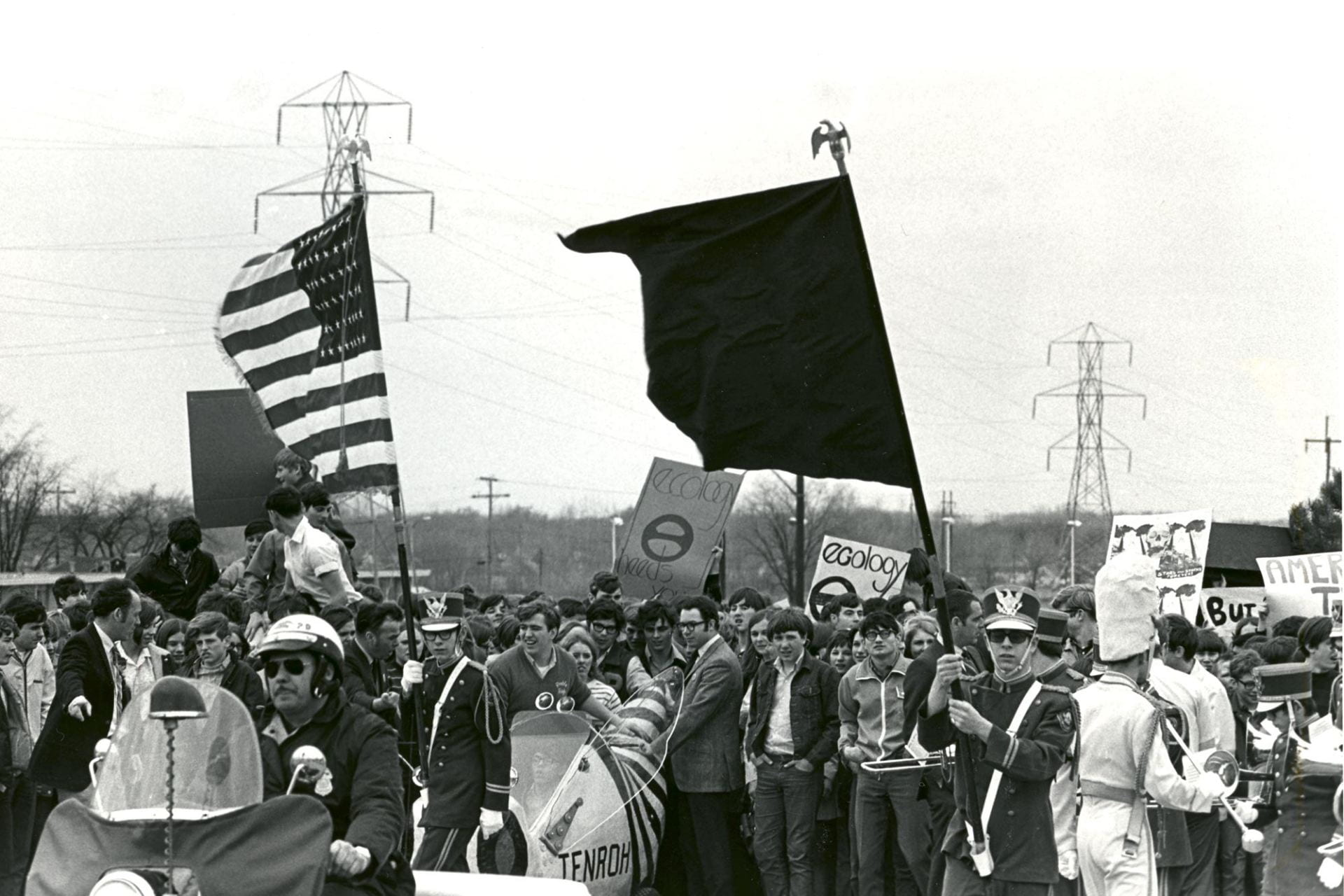 Vintage photo of an environmental awareness demonstration political activist ralley circa 1970.