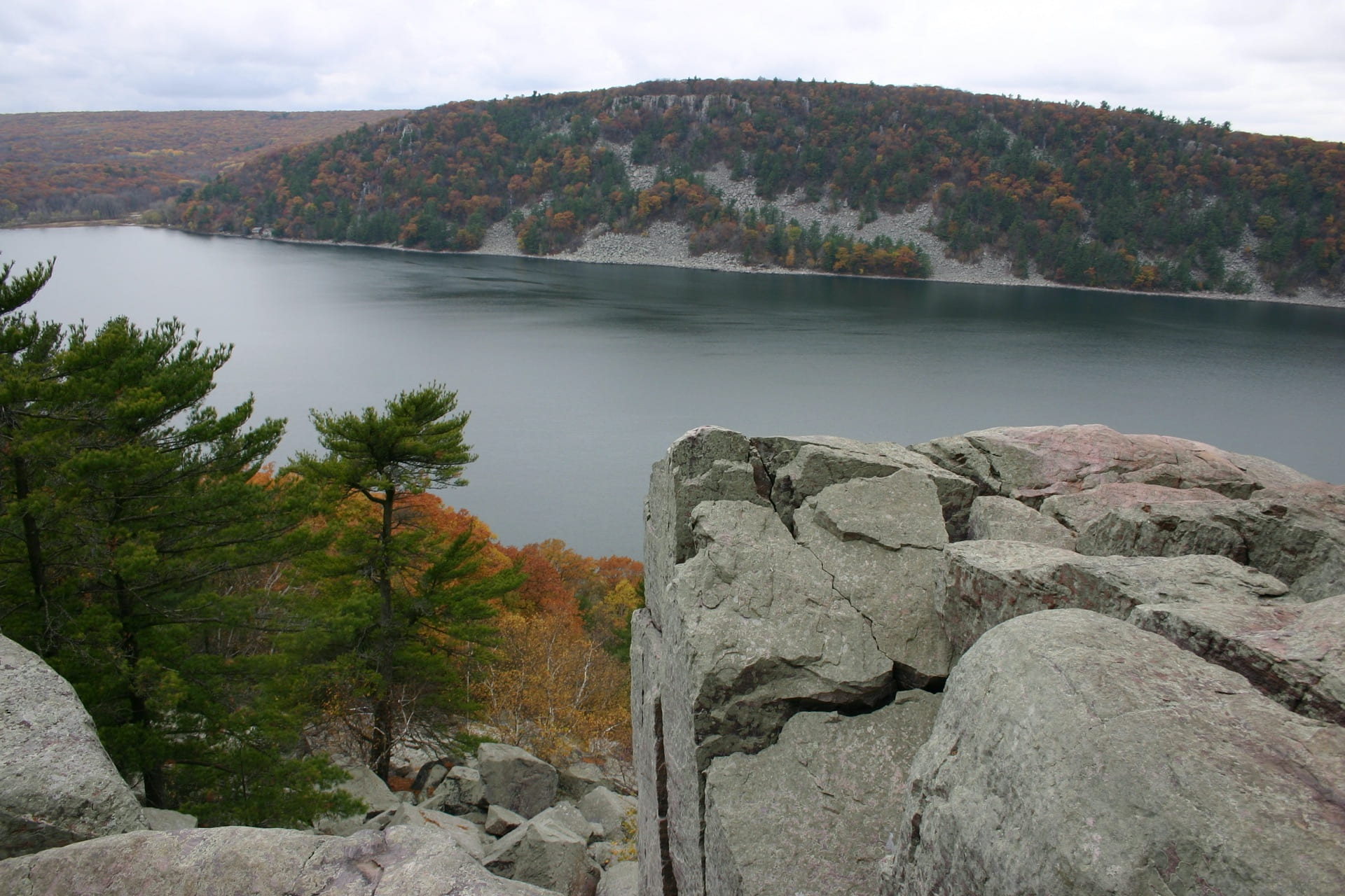 Water view of the bluffs of Baraboo Hills