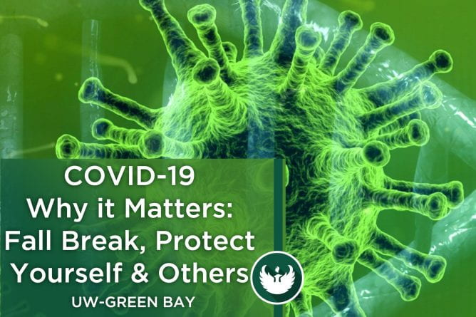 "Photo of the Covid-19 virus under a microscope with the text, ""Covid-19 Why it matters: Fall break, protect yourself and others."