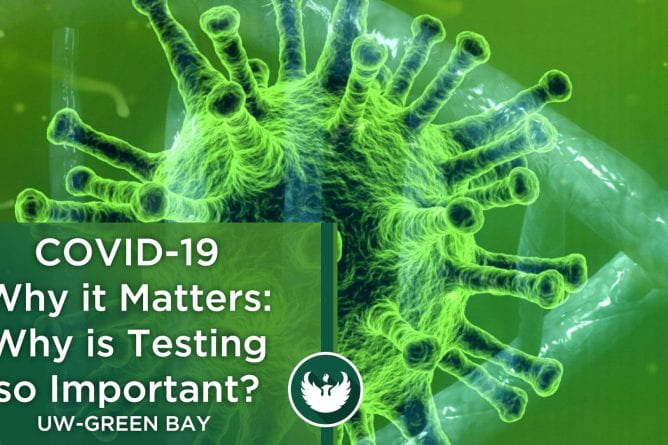 Photo of the Covid-19 virus under a microscope with the text, Covid-19 Why it Matters, Why is COVID-19 Testing so Important?""