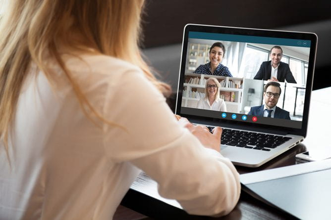 Image of a remote worker on a Zoom call