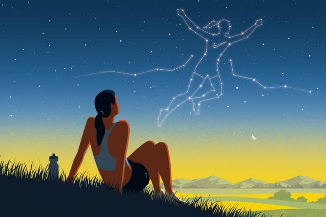 illustration of an athlete imagining success in the stars