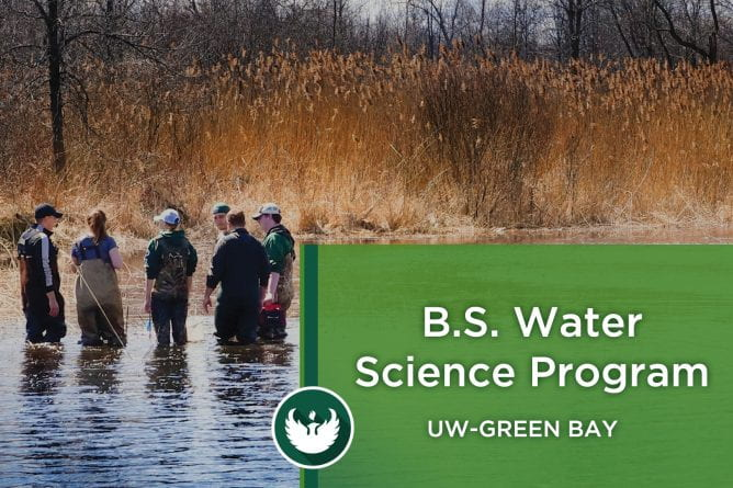 Photo of Water Science students wearing waders and standing in the marsh area in the Bay of Green Bay as they study Water Science at UW-Green Bay.