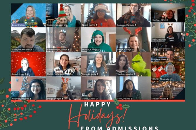 Zoom-style holiday group photo of the UW-Green Admissions staff with the message, Happy Holidays from Admissions.