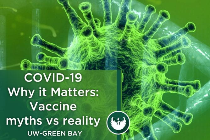 "Photo of the covid-19 virus enlarged under a microscope with the text, ""COVID-19 Why it Matters: Vaccine myths vs reality."""