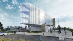 Cofrin Research Center architectural rendering ground view