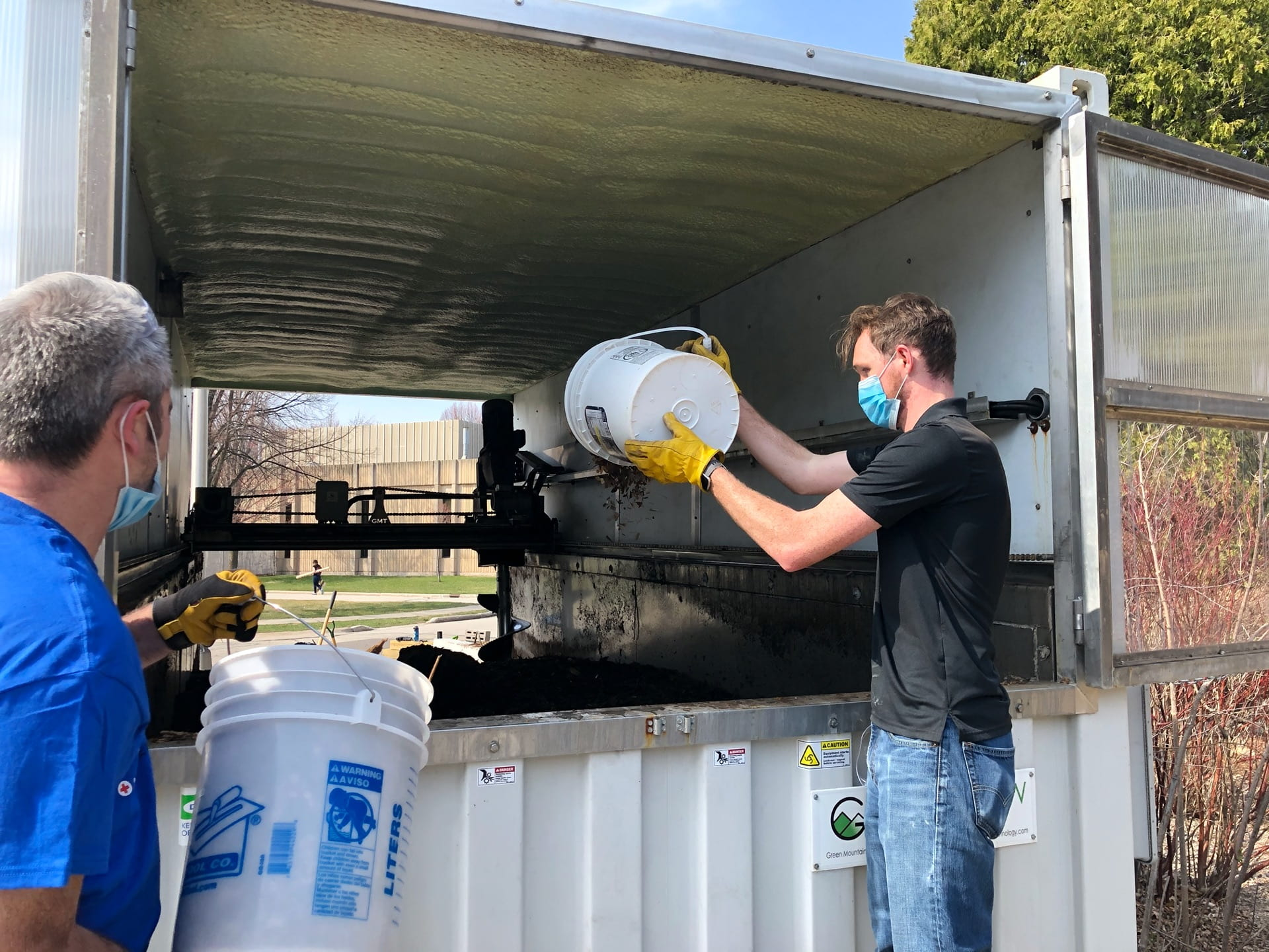 Filling the composter