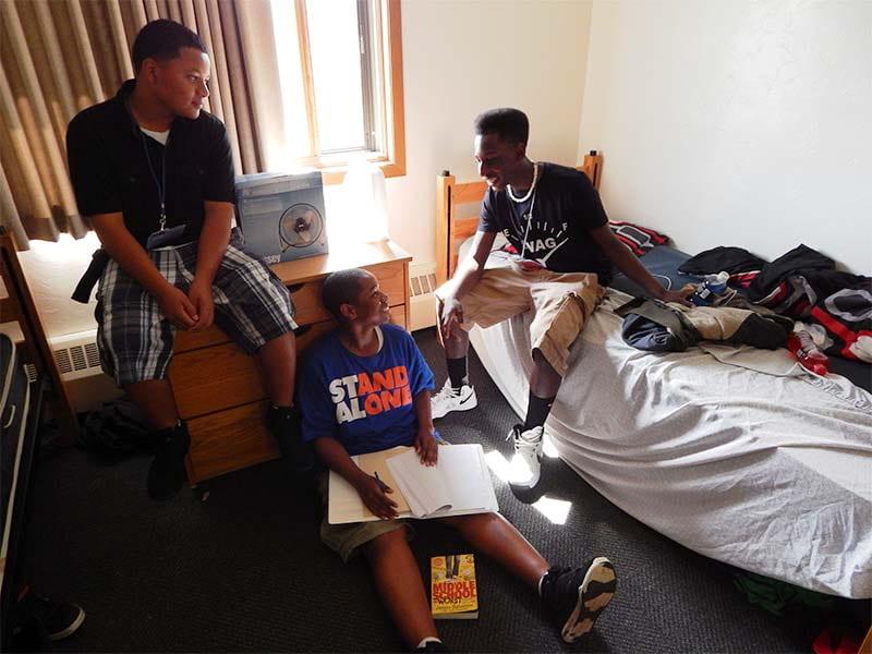 UWGB Upward Bound students in a dorm room