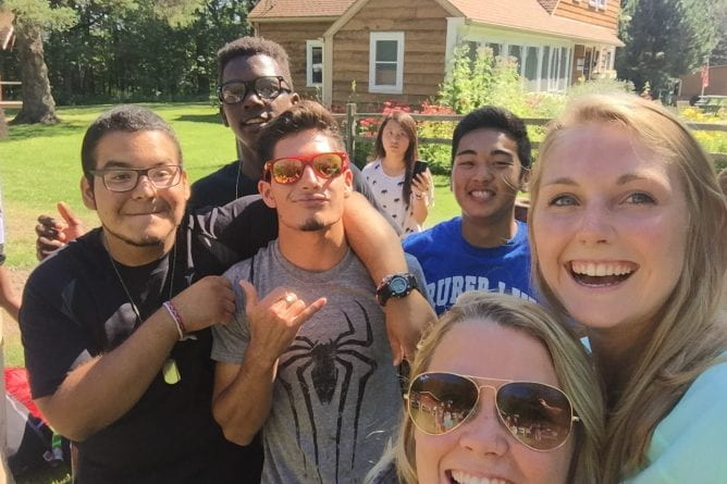 Multi-cultural and first generation high school students on UW-Green Bay Upward Bound Day trip