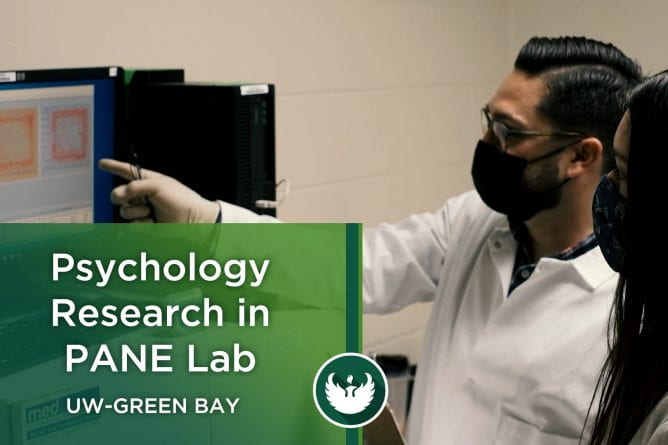 Assistant Professor Todd Hillhouse works with research student Peyton Koppenhaver on how to run a conditioned place preference test as they research a new psychopharmacological approach for pain relief inside the PANE Lab in the Lab Sciences building at UW-Green Bay.