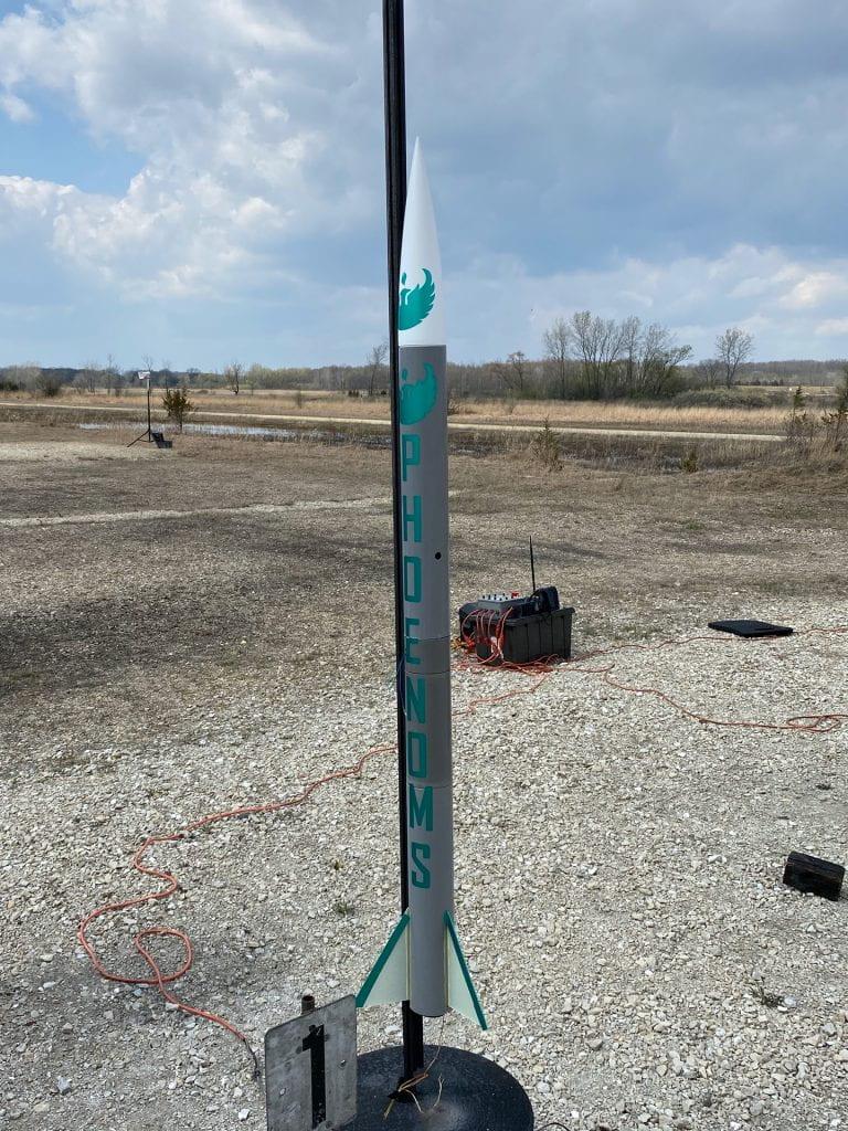 UWGB rocket on the launch rail