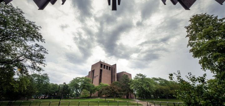 Storm clouds over the Cofrin Library