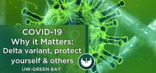"""Photo of an enlarged covid-19 virus under the microscope with a text overlay, """"COVID-19 Why it Matters: Part 23, Delta variant, protect yourself and others."""""""