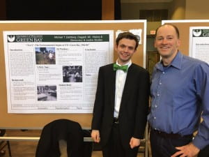 Student Michael Dahlberg presented his research on the origins of UWGB's Eco-friendly reputation with Professor David Voelker at the Academic Excellence Symposium in April 2017.