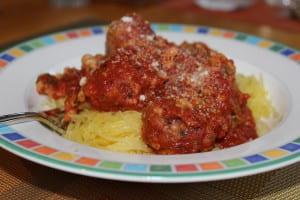 Fagiole balls with spaghetti squash