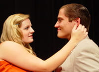 Meg Tresedder as Elvira and Derek Sklenar as Charles in Blithe Spirit