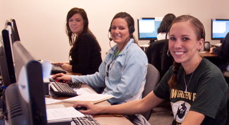 Phone-a-thon callers, left to right, Maggie Coulson, Melissa Konrath and Nicole Michlig