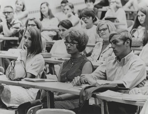 Students seated in a lecture class ca. 1969-1970