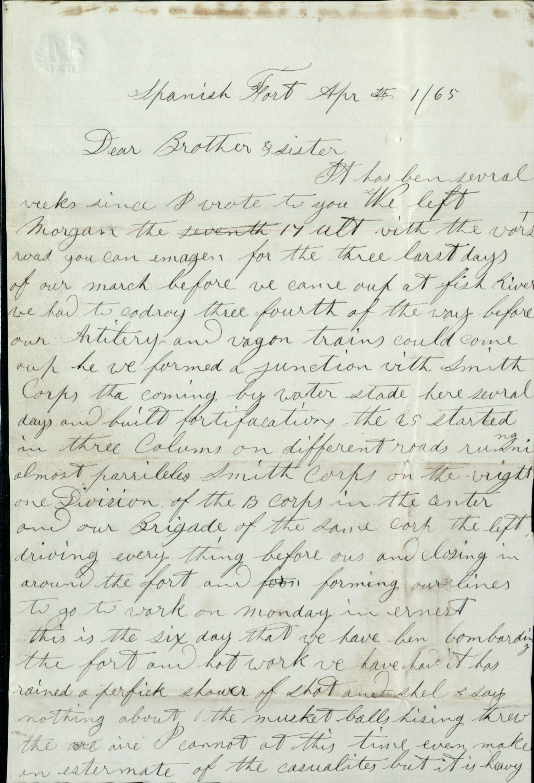 Hiram Carlton letter, April 1, 1865 (page 1)