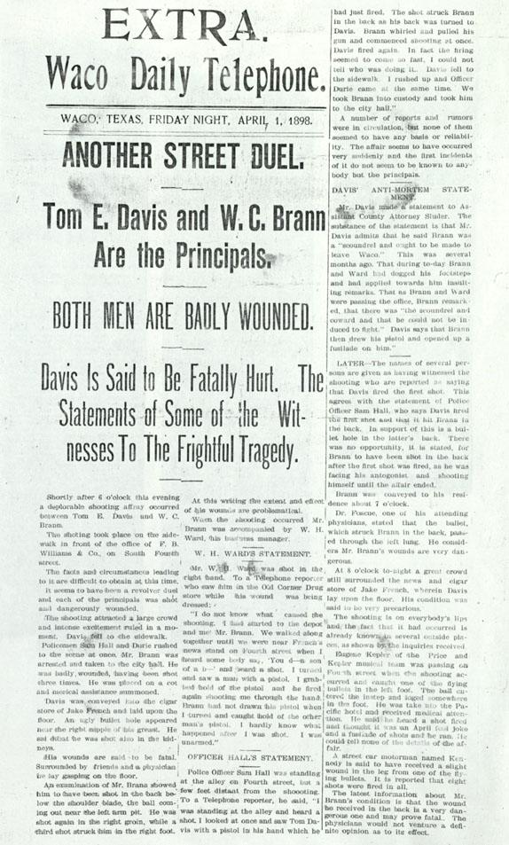 Brann-Davis, Waco Daily Telephone