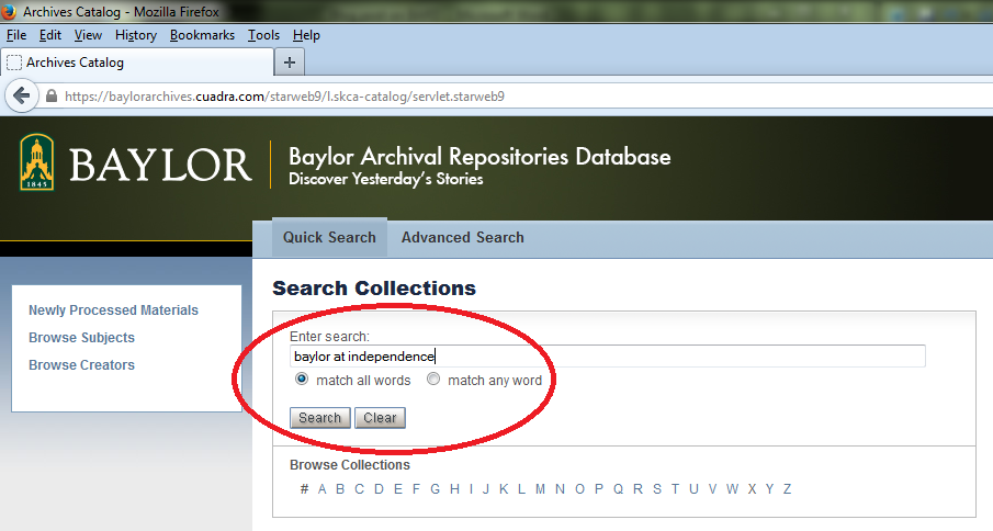 BARD screenshot-search Baylor at Independence