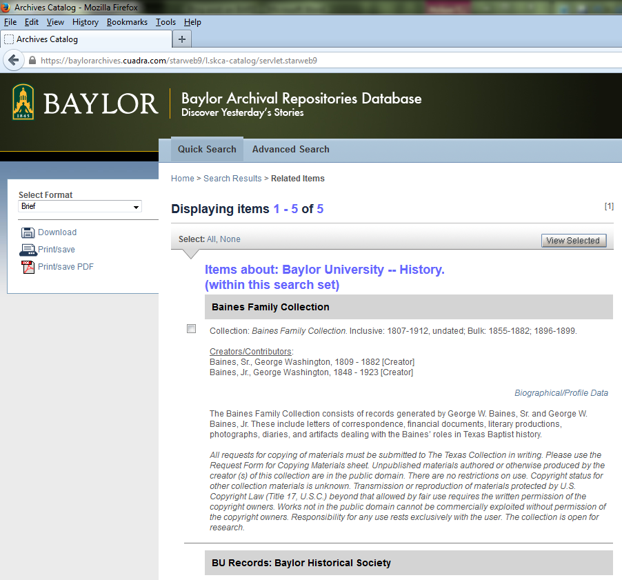 BARD screenshot--Baylor at Independence-Presidents-Preview view