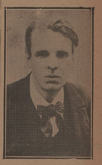 Photograph of William Butler Yeats appearing in the April 8, 1920, issue of The Lariat (The Texas Collection)