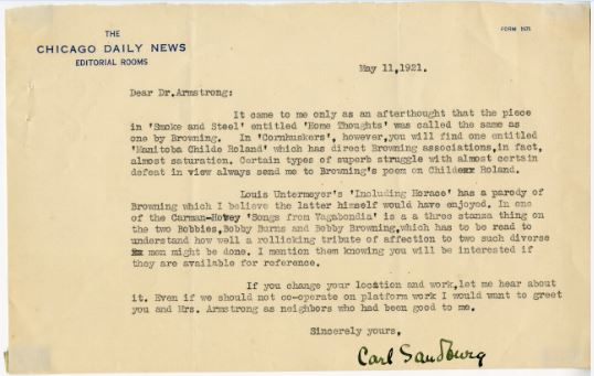 Carl Sandburg letter to A.J. Armstrong