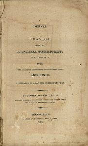 Photo of the title page of Title page of Nuttall's Journal of Travels...