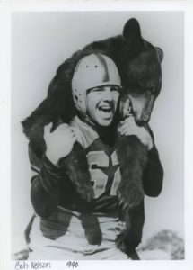 Bob Nelson carries Baylor's mascot on his back, 1940.
