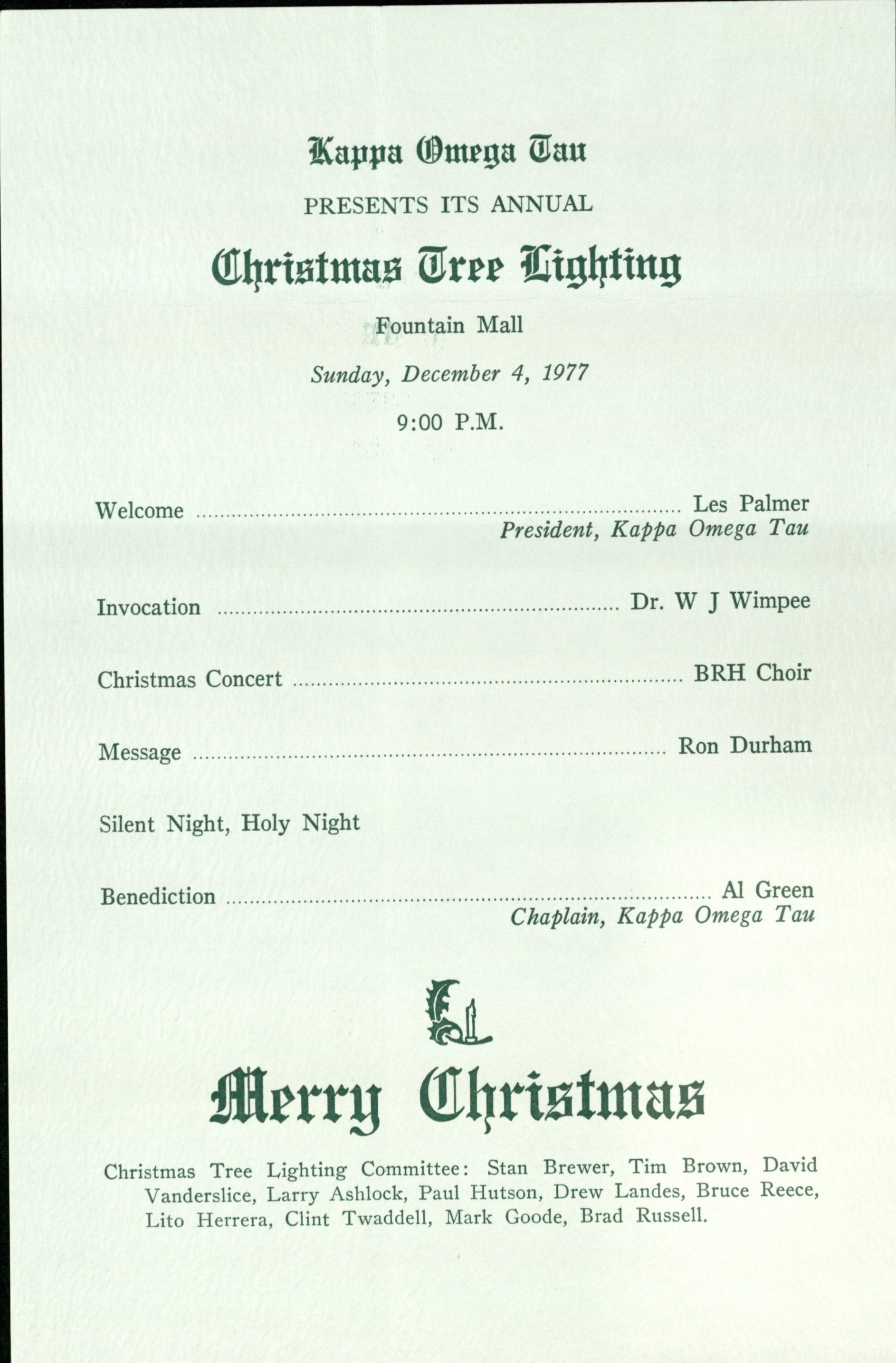 The texas collection page 3 treasures old and new christmas tree lighting program from 1977 stopboris Images