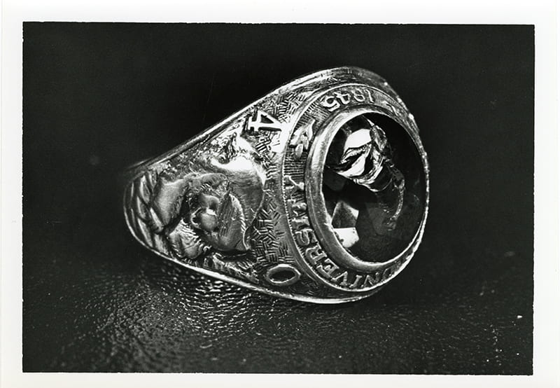 Phot0 of Walter Davis Gernand's Baylor University '40 class ring, found at the crash-site of his de Havilland Mosquito aircraft, where the young pilot and Baylor Alumnus lost his life in 1944.