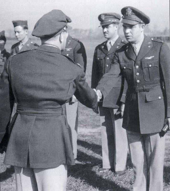 Walter Gernand is receiving his USAAF, Air Medal, in this image