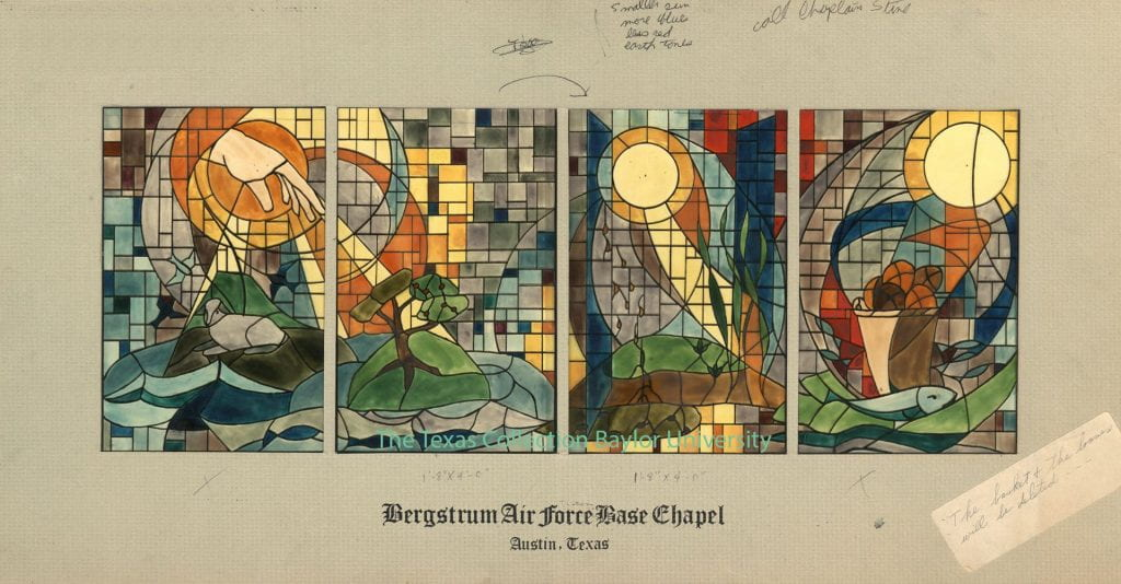 Four panel board depicting the hand of Christ in sunshine blessing the world.