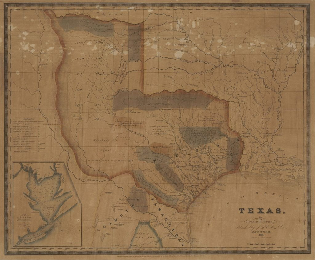 Photograph of map of Texas. Brown background with red line symbolizing border. Border extends panhandle north toward Oregon Country, west toward California, and stops South at the Nueces river. Eastern border edges Louisiana and Arkansas along the Sabine River.