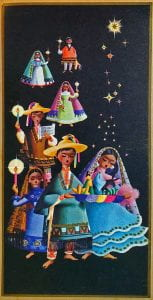 Black card with traditionally clothed Mexican pilgrims singing las posadas in processional. They are carrying candles and a platform holding Mary and Joseph under the stars.