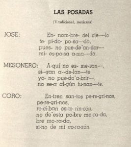 "Text of ""Las Posadas"" a song traditionally sung during Christmas time in Mexico"