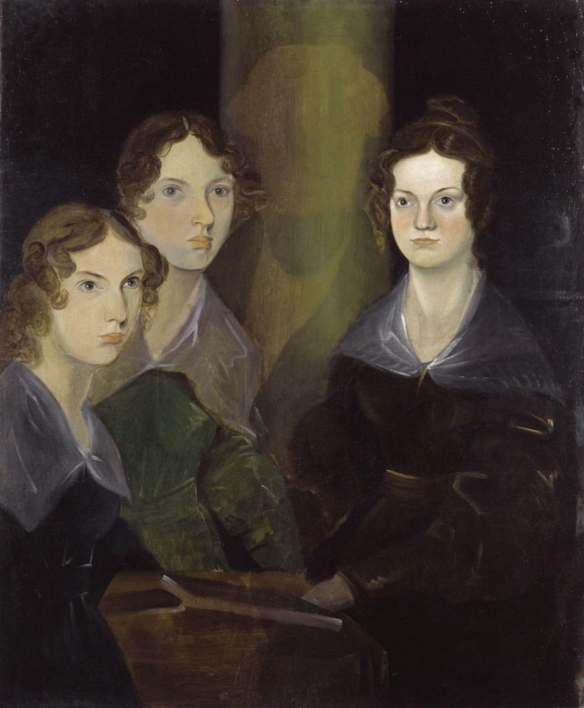 """""""The Brontë Sisters by Patrick Branwell Brontë restored"""" by Patrick Branwell Brontë (died 1848) - Digitally restored from National Portrait Gallery: NPG 1725. Licensed under Creative Commons. The restoration of the painting reveals that Branwell had originally painted himself between Emily and Charlotte, and later removed the self-portrait."""