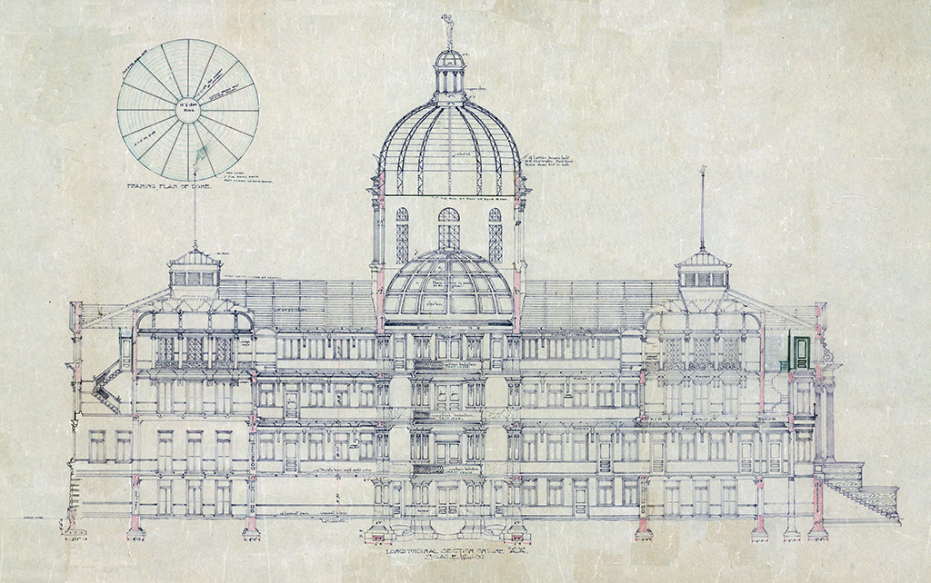Digitally enhanced image of courthouse plan.