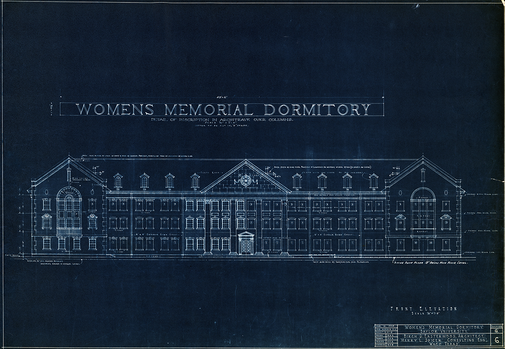 Front Elevation and Detail of Inscription in Architrave Over Columns, Women's Memorial Dormitory, Baylor University. Birch D. Easterwood, architect. June 10, 1929.