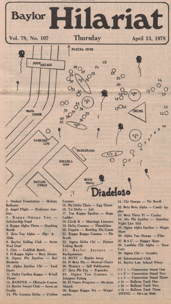 "Map of festivities from Dia-related issue of the ""Baylor Lariat"" of April 13, 1978."