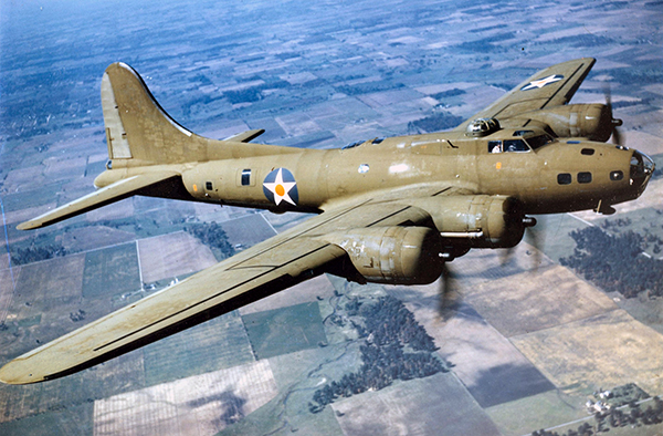 A B-17E Flying Fortress in flight, 1942. Image via Wikimedia, courtesy the U.S. Air Force.